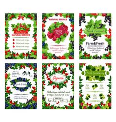 berry posters fresh natural garden berries vector image