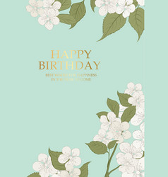 blooming cherry card vector image vector image