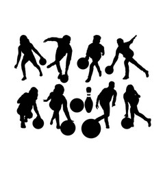 bowling sport activity silhouettes vector image