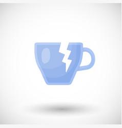broken tea cup flat icon vector image