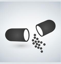 Capsule icon painkillers antibiotics vitamins vector