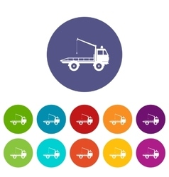 Car towing truck set icons vector