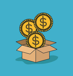Cardboard box opened with three big coins in blue vector