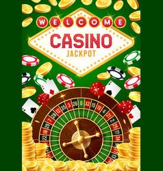 casino roulette chips dice and playing cards vector image