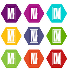 closed white window icon set color hexahedron vector image