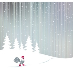 Cock walking on a snowy winter the magical forest vector image