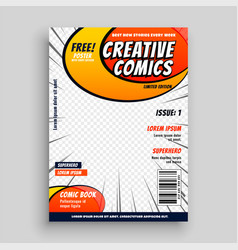 Comic book magazine cover page template vector