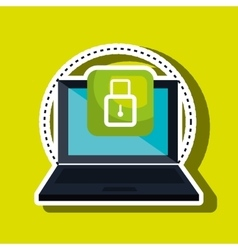 computer laptop with padlock isolated icon design vector image