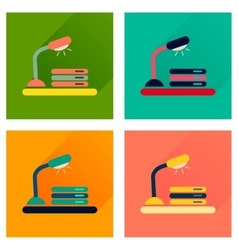 Concept of flat icons with long shadow lamp vector image