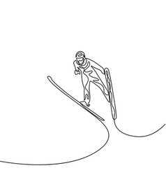 continuous one line jumping on ski olympic vector image