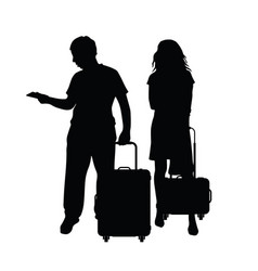 Couple silhouette with travel bag in black vector