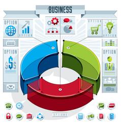 creative infographics element 3d three sectors vector image