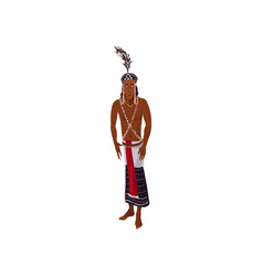 Cute african aborigine man with cute feather vector