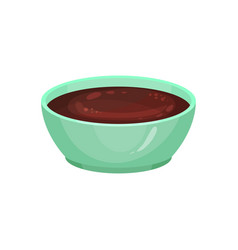 Delicious chocolate sauce in ceramic dip bowl vector