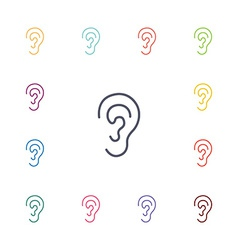 ear flat icons set vector image