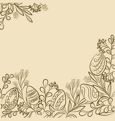 easter plants frame vector image
