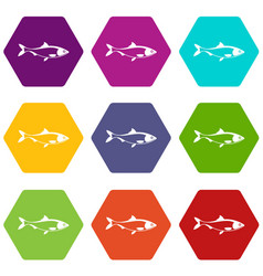 fish icon set color hexahedron vector image