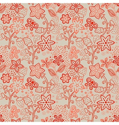 Floral Seamless Texture with a Strawberry Bright vector