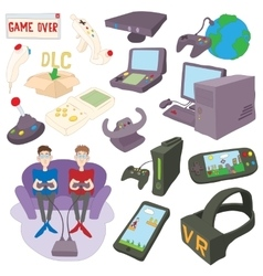 Games icons set cartoon style vector image