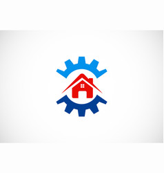 Gear house work logo vector