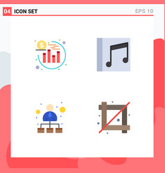 Group 4 modern flat icons set for investment vector