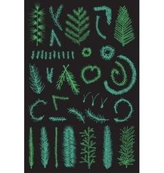 Hand drawn set green fir fine branch vector