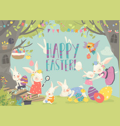 happy bunnies celebrating easter in forest vector image
