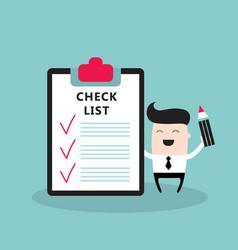 happy businessman with checklist successful vector image