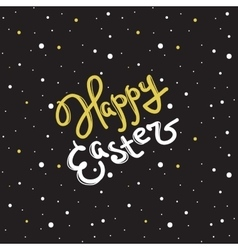Happy Easter greeting sign in trendy gold vector
