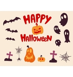 Happy halloween characters set vector image