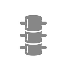 Human spine grey icon spinal canal symbol vector