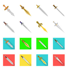 isolated object of game and armor icon collection vector image