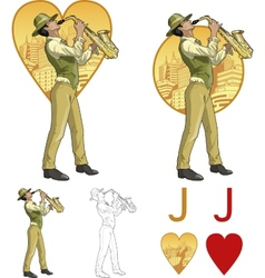 Jack of hearts mixed race musician Mafia card set vector image