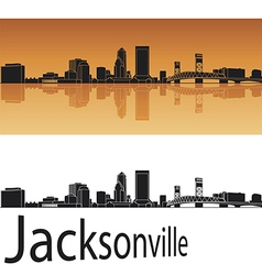 Jacksonville skyline in orange background vector image