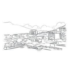 juneau alaska sketch line usa landscape hand drawn vector image