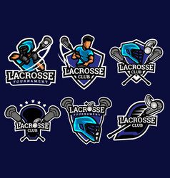 Lacrosse logo and badge set image vector