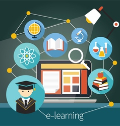 Laptop with E-Learning Icons vector image