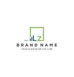 Letter lz square logo finance design vector