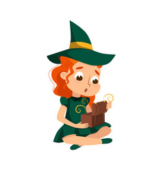 Little witch cute redhead girl wearing green vector