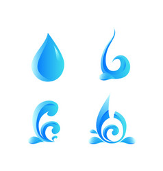 Logo set element symbol aqua vector