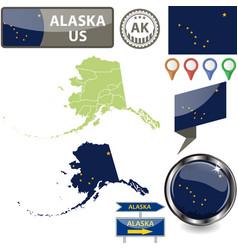 Map alaska us vector