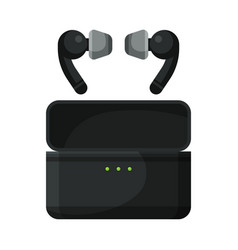 mobile wireless earbuds with pouch accessory vector image