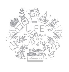 Monogram pots with plants life better with flowers vector