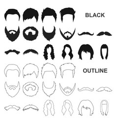 mustache and beard hairstyles black icons in set vector image