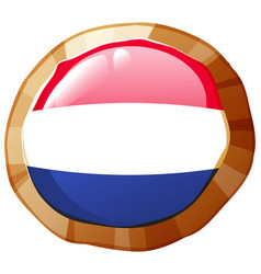 Netherland flag on round badge vector