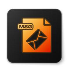 Orange glowing neon msg file document download vector