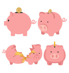 piggy bank with goin coin concept growth set vector image