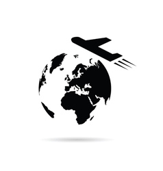 Planet earth with airplane vector