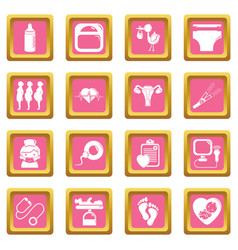Pregnancy icons set pink square vector
