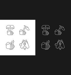 proper handwashing linear icons set for dark vector image